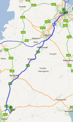 Directions from Belfast to Newry