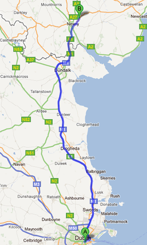 Directions from Dublin to Newry